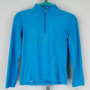 Spyder Blue Velour Fleece Zip Front CZ Size M